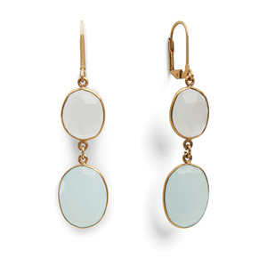 Olivia & Grace Carolyn Earrings in Moonstone and Aqua Quartz