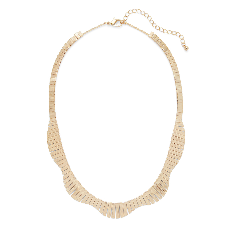 Jill Michael  Wide Fringe Collar Necklace in Gold