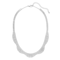 Jill Michael  Wide Fringe Collar Necklace in Silver