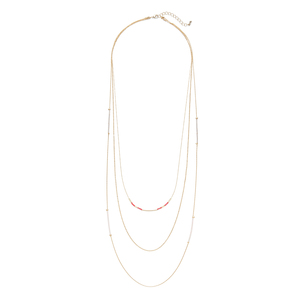 Jill Michael Gold and Coral Delicate Beaded Layer Necklace