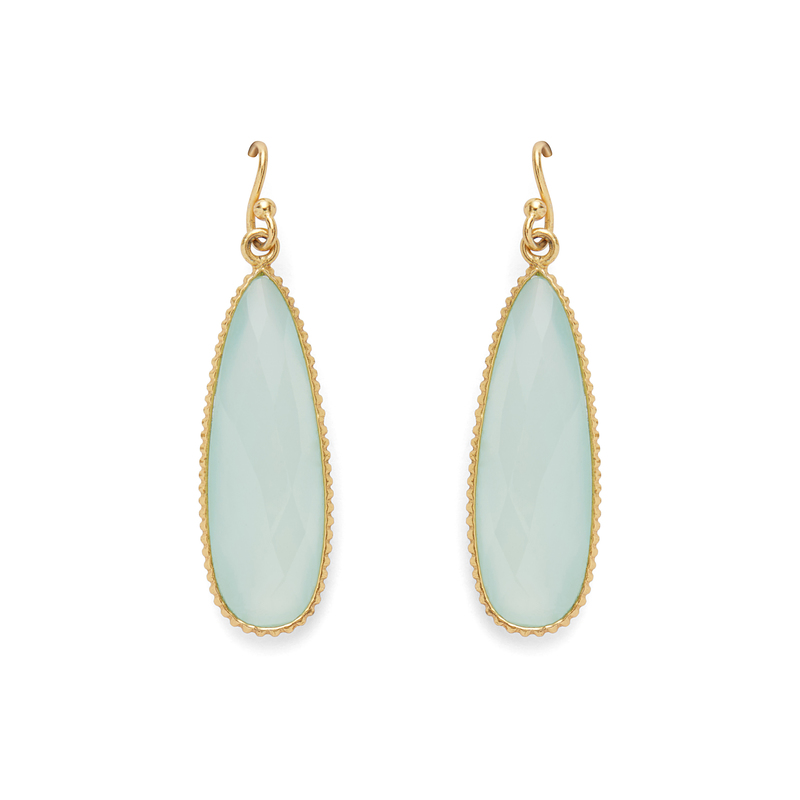 Ashiana London Long Drop Earrings in Aqua