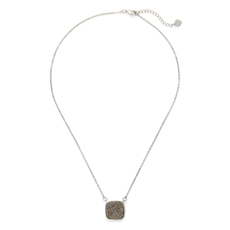 Elise M Athena Necklace in Silver & Silver Druzy