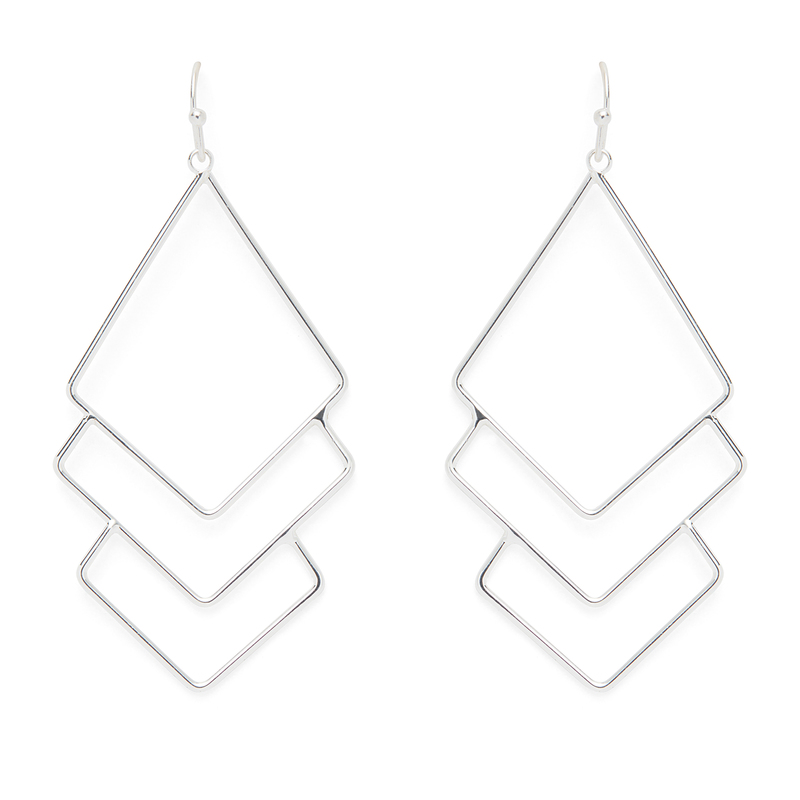 Jill Michael  Metal Diamond Layer Earrings in Silver