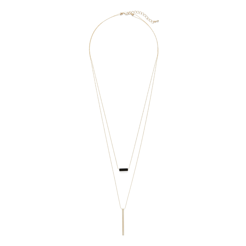 Jill Michael Gold and Black Bar Layer Necklace