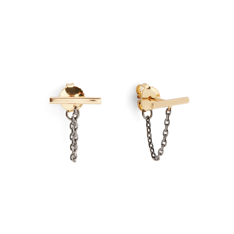 Jules Smith Loren Bar Studs in Gold and Gunmetal