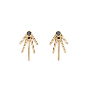 Jules Smith Jagger Jewel Studs in Gold and Black