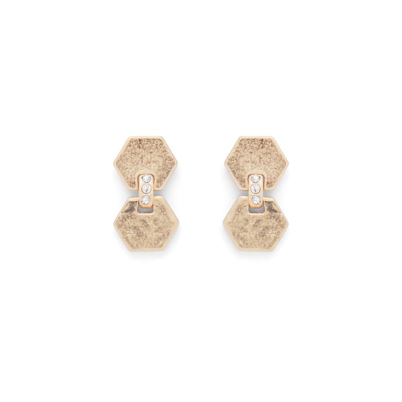 SLATE Hexagon Delicate Drop Earrings