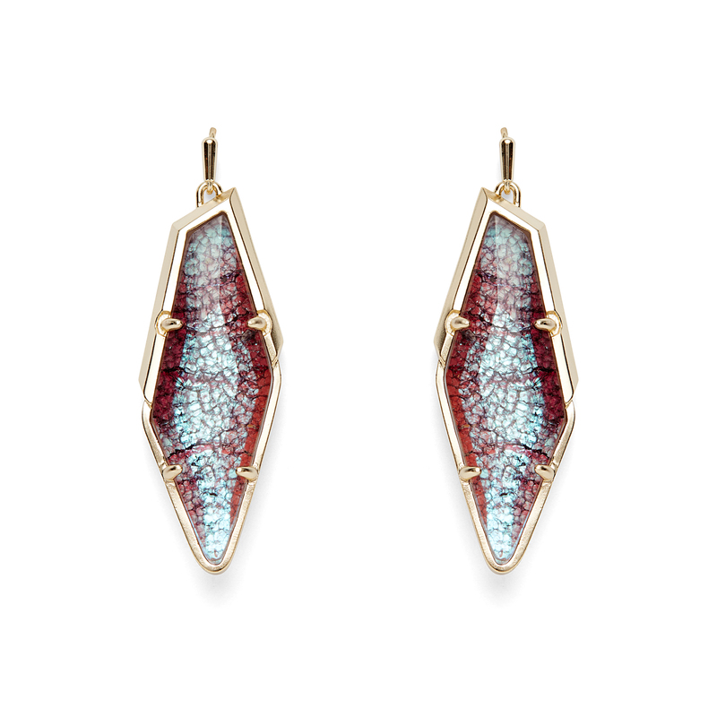 Kendra Scott Bexley Earrings in Gold and Navy Crackle Illusion