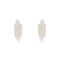 Kendra Scott Brook Studs in Silver with Iridescent White Banded Agate
