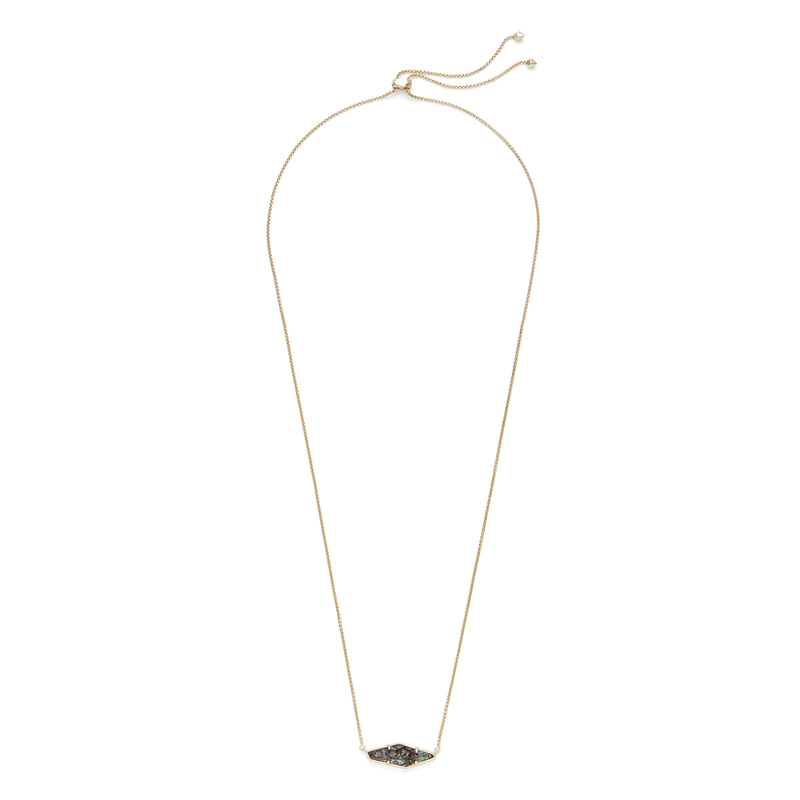 Kendra Scott Beth Necklace in Gold and Navy Crackle Illusion
