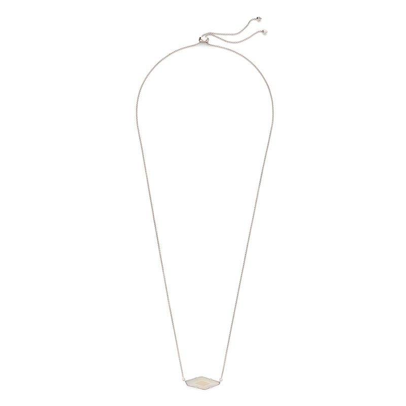 Kendra Scott Beth Necklace in Silver and Iridescent White Agate