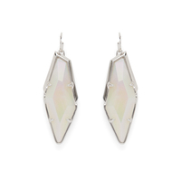 Kendra Scott Bexley Earrings in Silver and Iridescent White Banded Agate