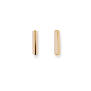 Gorjana Dez Bar Studs in Gold and Pink Aventurine