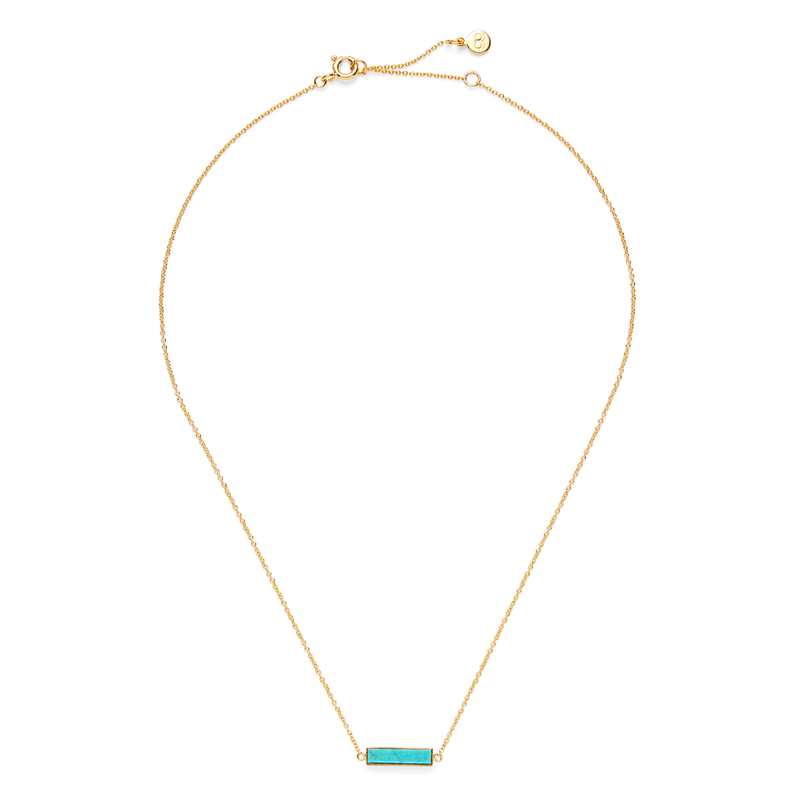 Gorjana Dez Bar Necklace in Gold and Turquoise