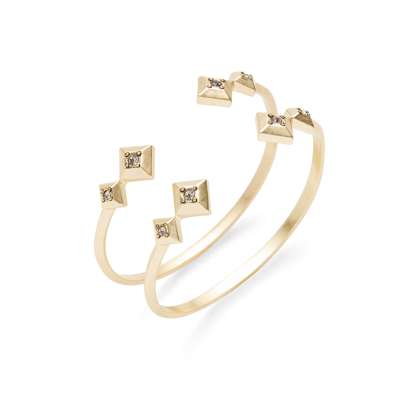 House Of Harlow House of Harlow Peak To Peak Ring Set in Metallic Gold PKdnb