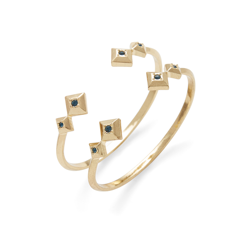 House of Harlow 1960 Lyra Cuff Set in Gold and Blue