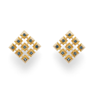 House of Harlow 1960 Lyra Button Earrings in Gold and Blue