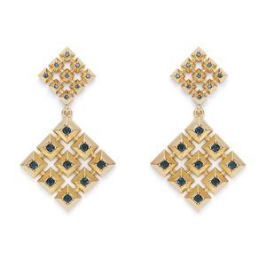House of Harlow 1960 Lyra Statement Earrings in Gold and Blue