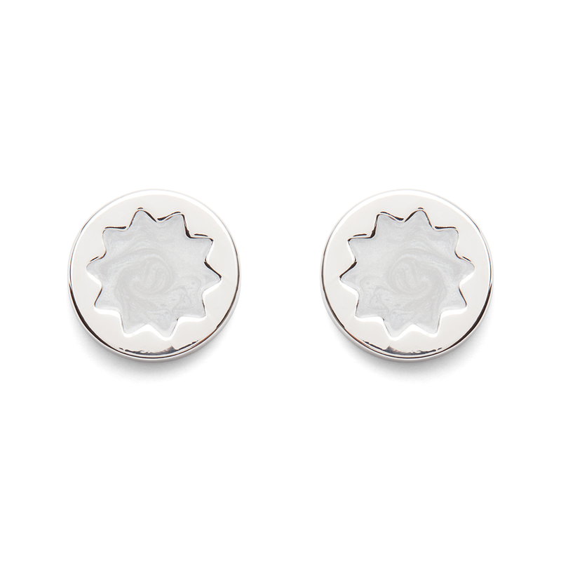 House of Harlow 1960 Enameled Sunburst Stud Earrings in Silver and Grey