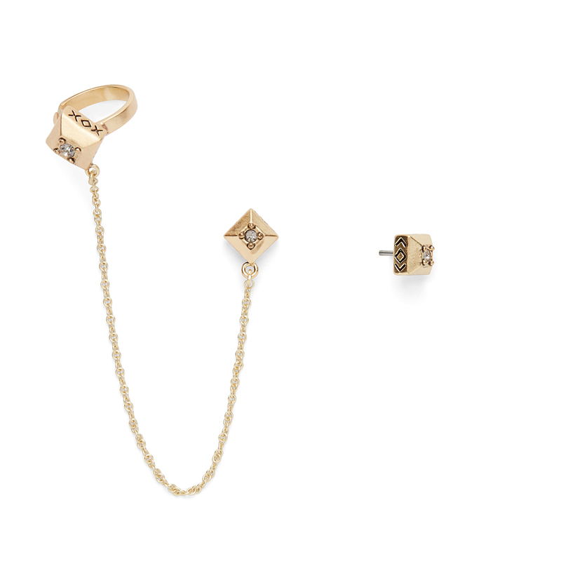 House of Harlow 1960 Lyra Ear Cuff and Stud Set in Gold