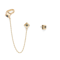 House of Harlow 1960 Lyra Ear Cuff and Stud Set in Gold and Blue