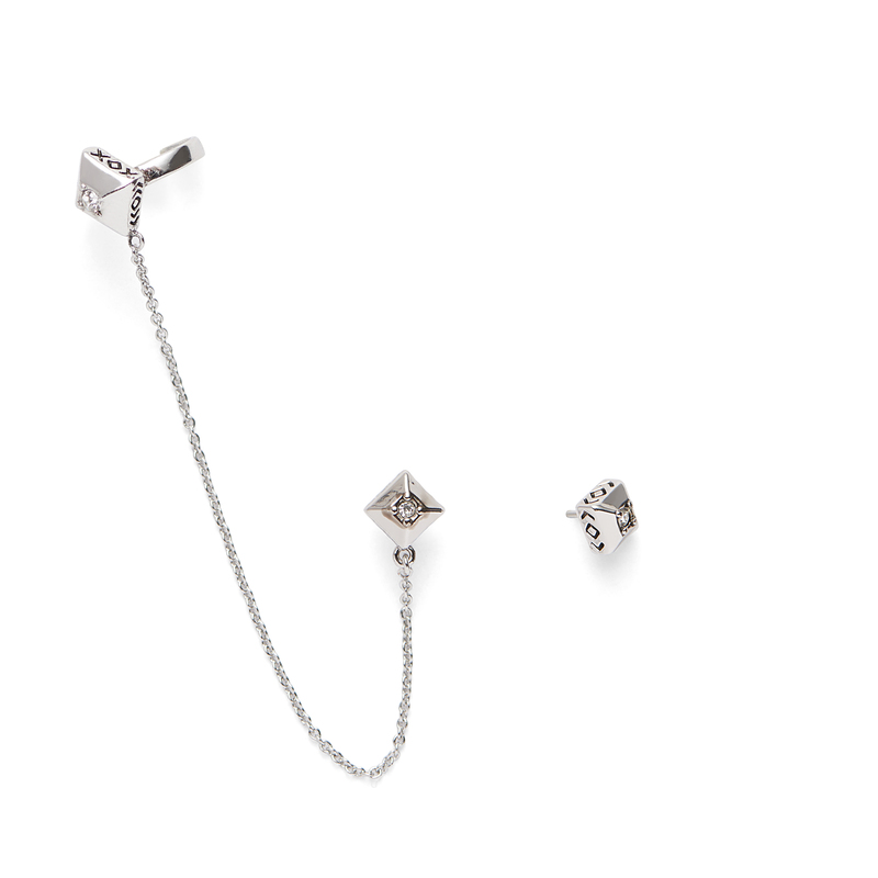 House of Harlow 1960 Lyra Ear Cuff and Stud Set in Silver