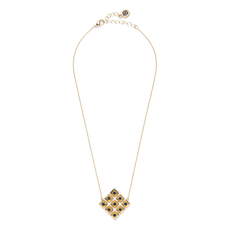 House of Harlow 1960 Lyra Pendant Necklace in Gold and Blue