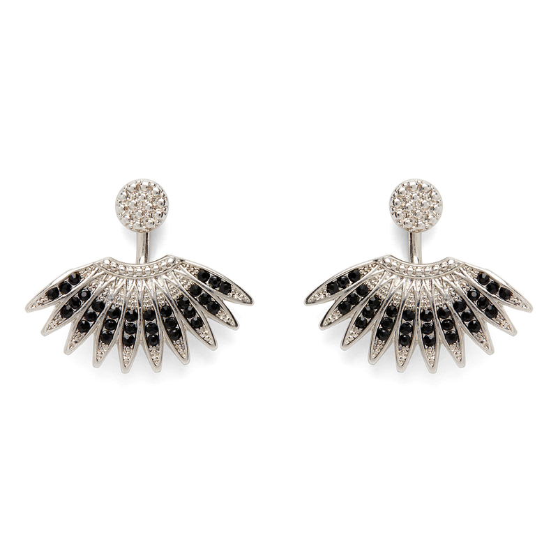 SLATE Kaya Beaded Ear Jackets in Silver