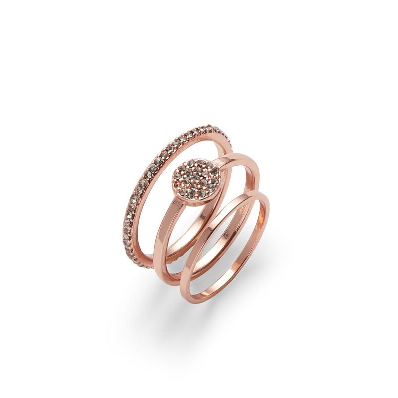Sophie Harper Pavé Circle Ring Set in Rose Gold