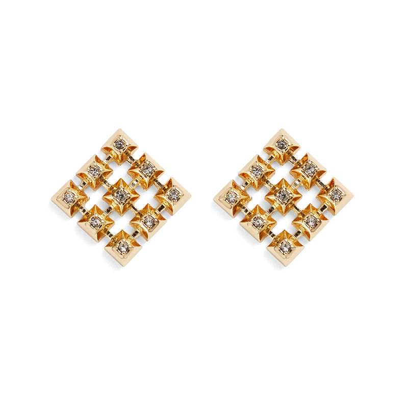 House of Harlow 1960 Lyra Button Earrings in Gold