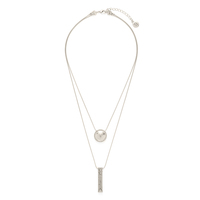 House of Harlow 1960 Golden Scutum Double Pendant Necklace in Silver