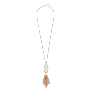 Kendra Scott Rayne Necklace in Rose Gold Ivory Pearl