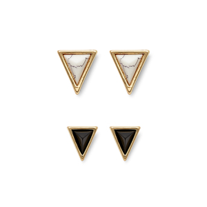 House of Harlow 1960 Meteora Triangle Studs Set in Howlite & Black