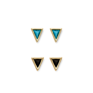 House of Harlow 1960 Meteora Triangle Mini Studs Set in Turquoise & Black