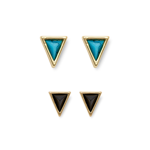 House of Harlow 1960 Meteora Triangle Studs Set in Turquoise & Black