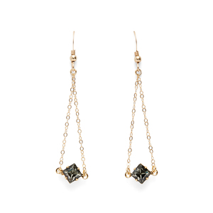 Robyn Rhodes Diamond Dangle Earrings in Black Crystal
