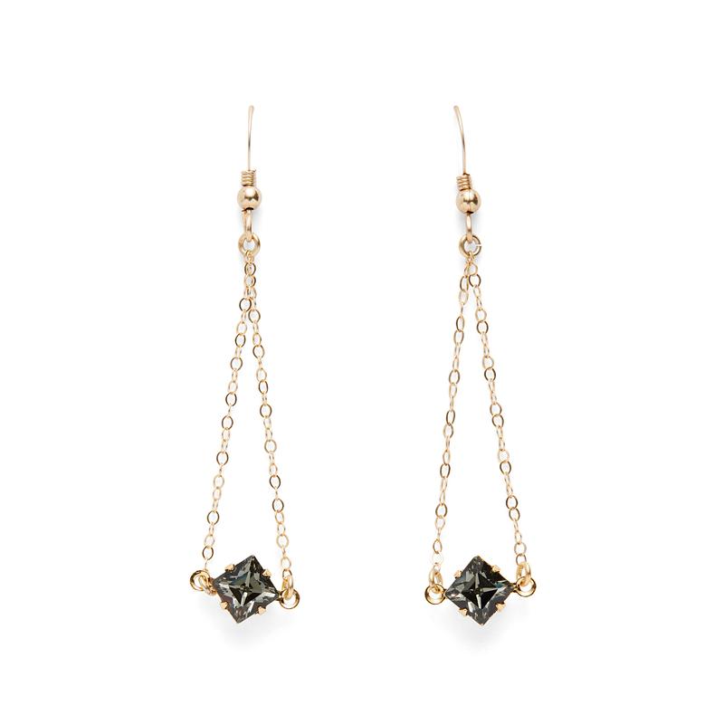 Robyn Rhodes Diamond Dangle Earrings in Black Crystal
