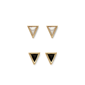 House of Harlow 1960 Meteora Mini Triangle Studs Set in Howlite & Black