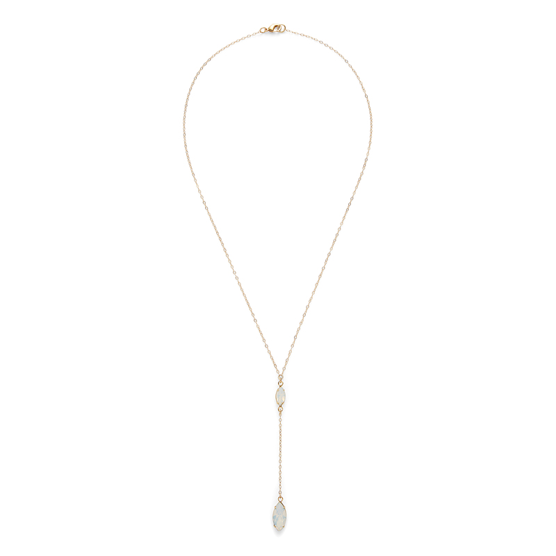 Robyn Rhodes Marquis Mini Lariat Necklace in Opal Crystal