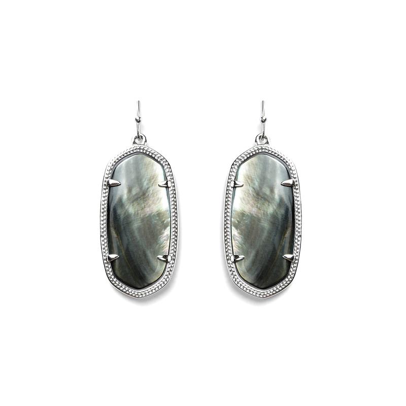 Kendra Scott Elle Silver Earrings in Black Pearl