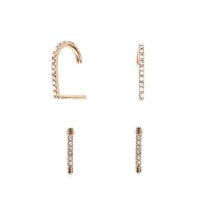 SLATE Alix Ear Suspenders in Gold Crystal and Black Diamond