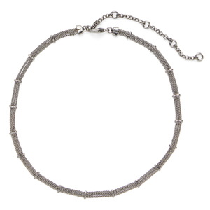 SLATE Delicate Bars and Chains Choker in Gunmetal