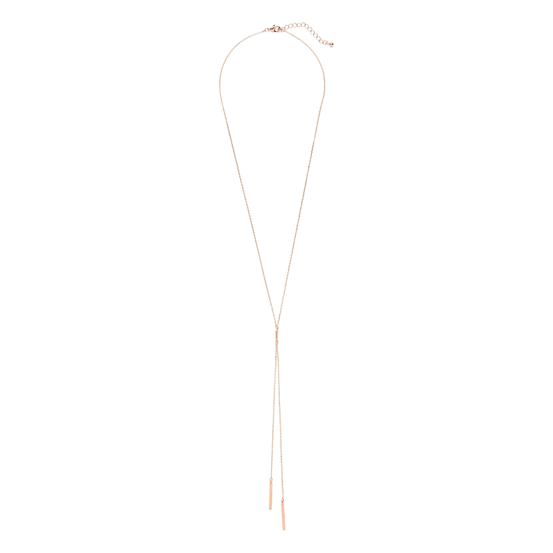 Sophie Harper Double Tube Lariat in Rose Gold
