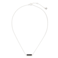 Gorjana Dez Bar Necklace in Silver and Black Obsidian