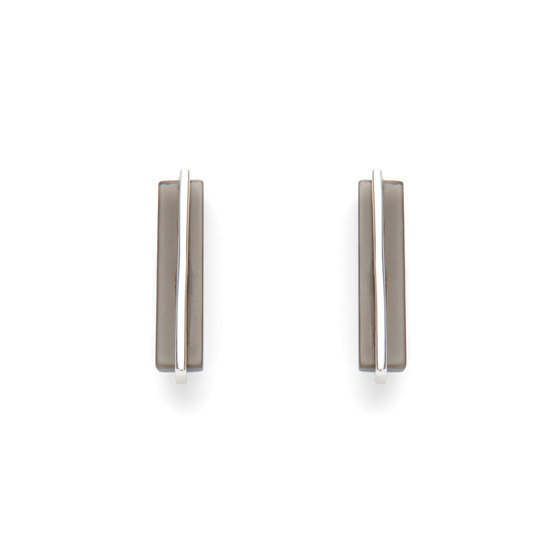 Gorjana Dez Bar Studs in Silver and Black Obsidian