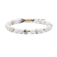 Gorjana Power Gemstone Beaded Bracelet in Howlite and Gold