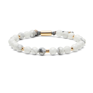 Gorjana Power Gemstone Beaded Bracelet in Howlite and Gold