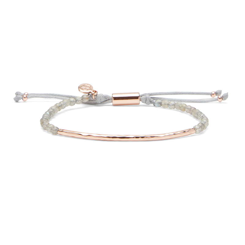 Gorjana Power Gemstone Bracelet in Labradorite and Rose Gold