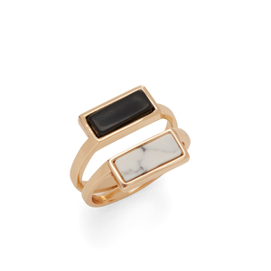 SLATE Issa Stacking Rings in Black and Howlite