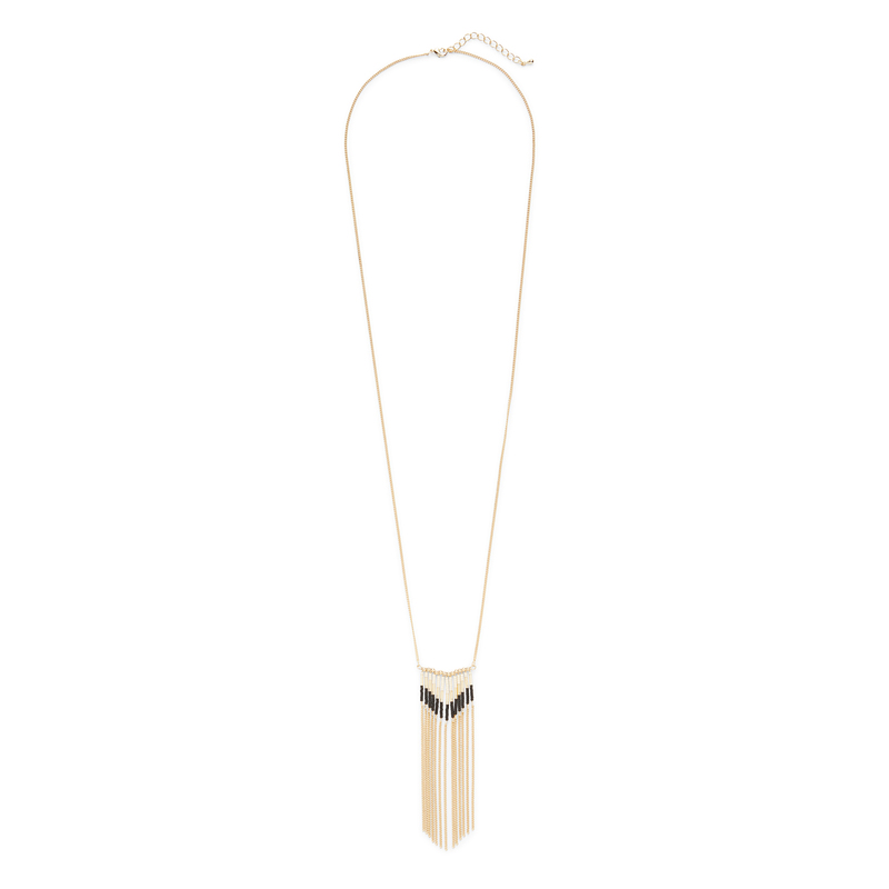 Jill Michael Gold and Black Beaded Fringe Necklace